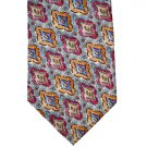 Albert Nipon Gray/Burgundy/Gold/Blue Silk Tie