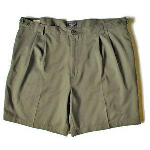 Docker's Khakis Olive Microfiber Men's Pleated Dress Shorts Size 42