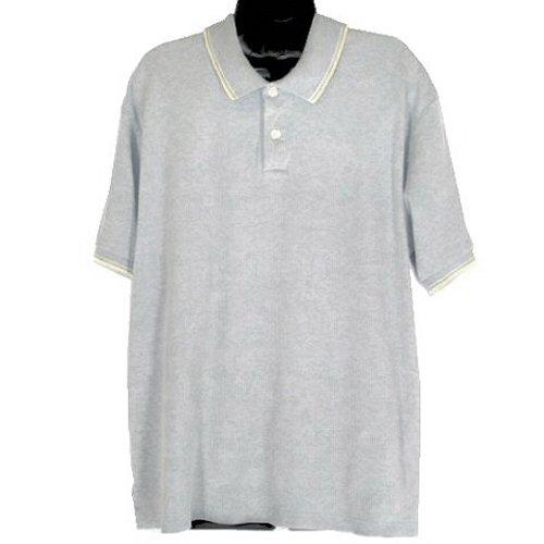 J CREW Light Gray Ribbed Cotton Knit Polo Shirt Men's Size XL
