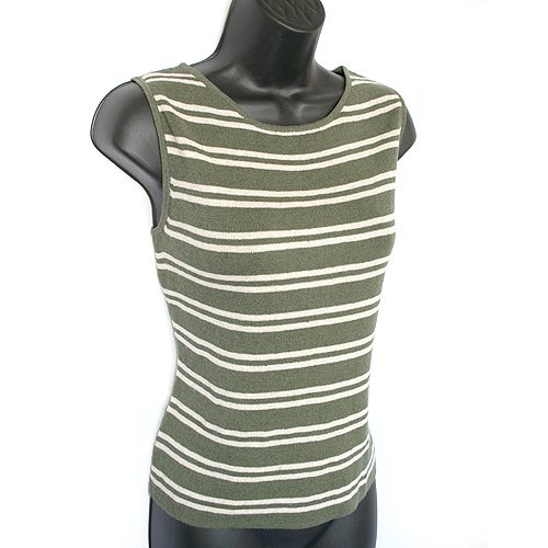 Chico's Olive Green/Cream Striped Sleeveless Sweater/Shell/Tank Size 1 (S/M Small/Medium 8/10)