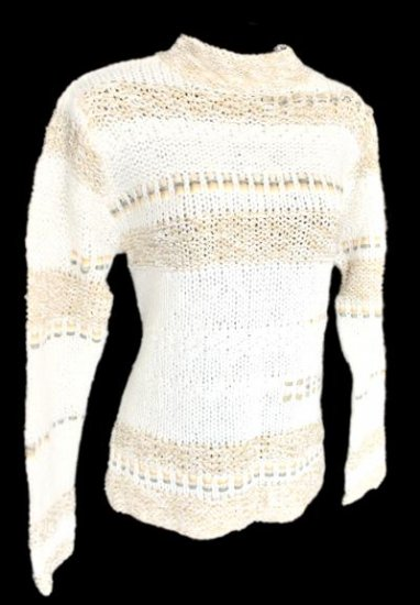 Coldwater Creek Cream Ribbon Trim Mohair Blend Sweater Size Small (S)