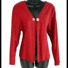 DAVID DART Red Flyaway Cardigan with Abalone Buttons Size Medium (M) Soft!