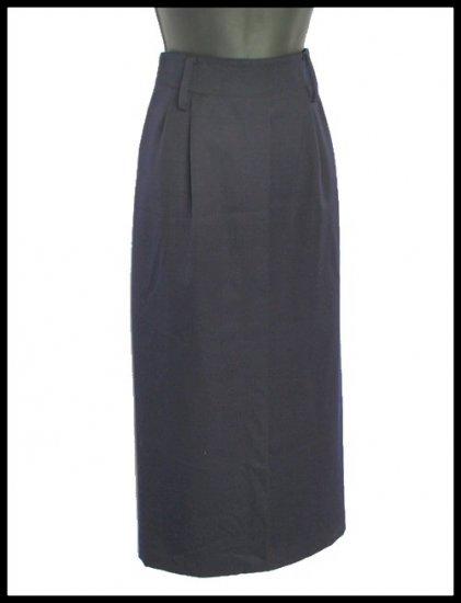 Linda Allard Ellen Tracy Long Navy Blue Wool Career Skirt Size 6 (S) Small