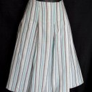 NEW YORK & COMPANY Cotton Stripe Knee-Length Full Skirt Size 12 (L) Large