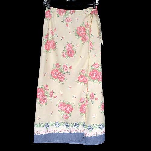 Susan Bristol Yellow Rose Print Wrap Skirt Women's Size 1 (1W) 1X
