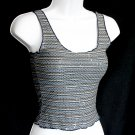 BEBE Thin/Soft Shiny Blue Stripe Tank Top with Pailettes Size Small (S)