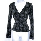 Express Black Floral Faux Wrap Top/Shirt Women's Size XS