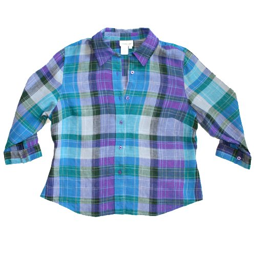 Coldwater Creek Purple Teal Plaid Linen Blend Shirt Top