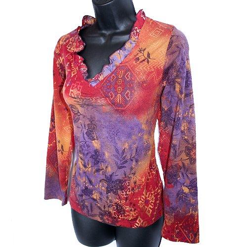 Coldwater Creek Burgundy Purple Ruffle Trim Stretch Shirt/Top Size Small (S)