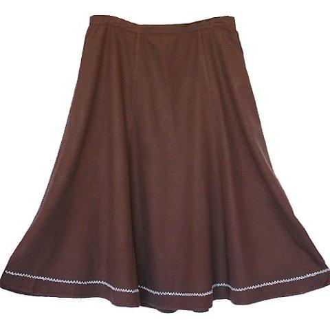 Coldwater Creek Brown Linen Long Full Panel Skirt Size XL (1X)