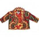 UNGE-POTCH-KET Tapestry Sunflower Theme Cropped/Tiny Jacket with Fringe Size XS