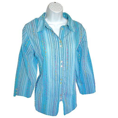 Coldwater Creek Blue Ribbon Trim Shirt/Top/Blouse Size XL