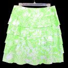 RICKIE FREEMAN TERI JON Lime Green Hawaiian Print Ruffle Tier Skirt Size 12 (Large) L