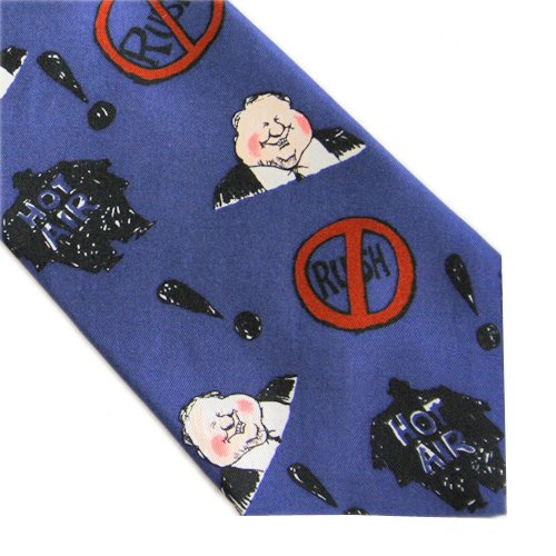 "Anti-Rush Limbaugh ""Hot Air"" Mike Luckovich Liberal Politics Silk Tie"