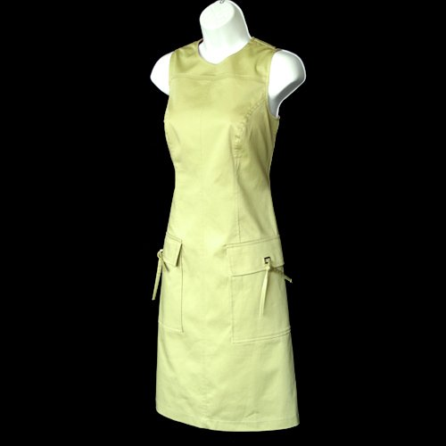 Citrine Muted Lime Green Tie Pocket A-Line Dress Size 4 (Small) S