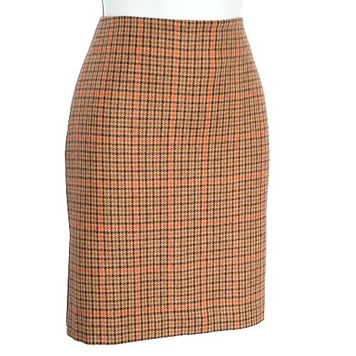 MICHAEL by MICHAEL KORS Melon/Tan/Brown Check Career Skirt Size 4 (Small) S