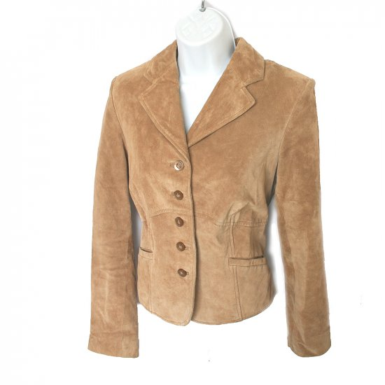i.e. Brand Cute Tan Fitted Suede Jacket Size Small (S)