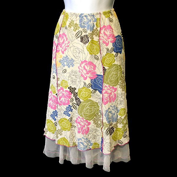 J Jill Flirty Floral PeekABoo Tulle Hem Skirt Women's Petite Size Small (PS)
