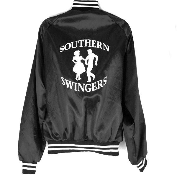 Southern Swingers Black Satin Swing Dance Jacket Men's Size Large (L)