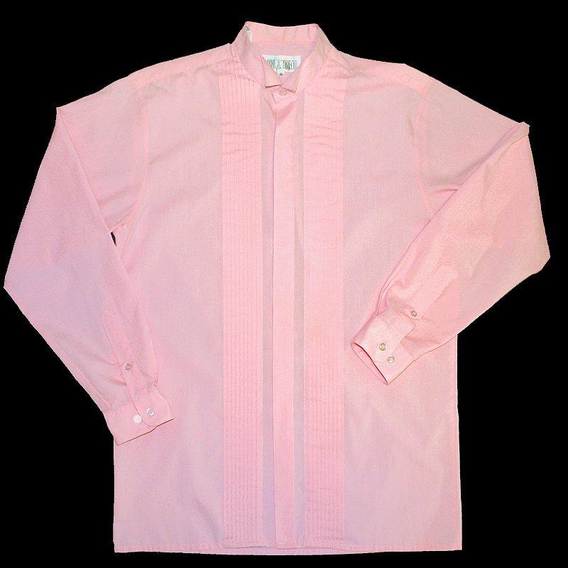 Pink Pleated Wing Collar Tuxedo Tux Shirt Men's Size Medium (M) 15.5
