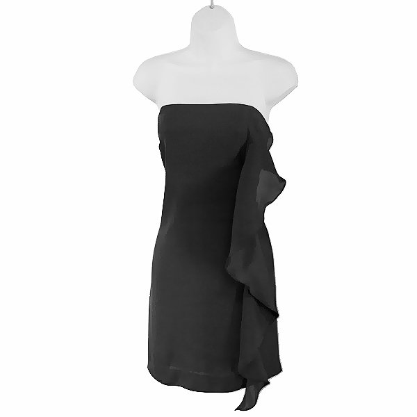 BCBGeneration Ruffle Front Strapless Little Black Dress Women's Size 10 (Medium) M