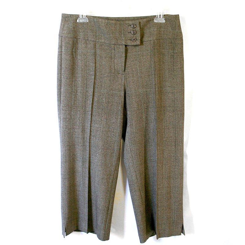 CAbi #389 Brown Glen Plaid Dress Capri Pants Women's Size 6 (Small) S