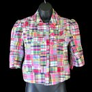 Carole Little Madras Plaid Patchwork Babydoll Swing/Crop Jacket - Brand New! Women's Size Small (S)