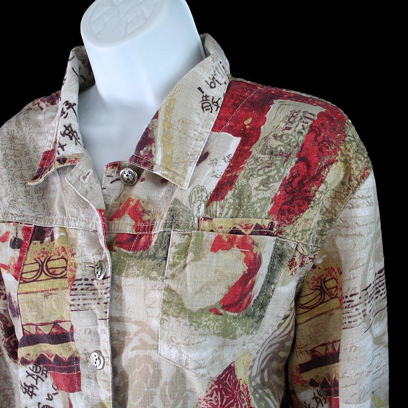 Chicos Tan Cranberry Asian Print Linen Blend Jacket Chico's Size 2 (Women's Large) L