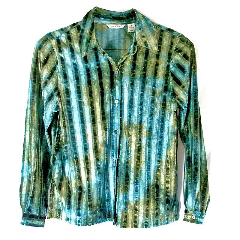French Laundry Jewel Tone Crushed Velvet Striped Blouse Women's Size Medium (M)
