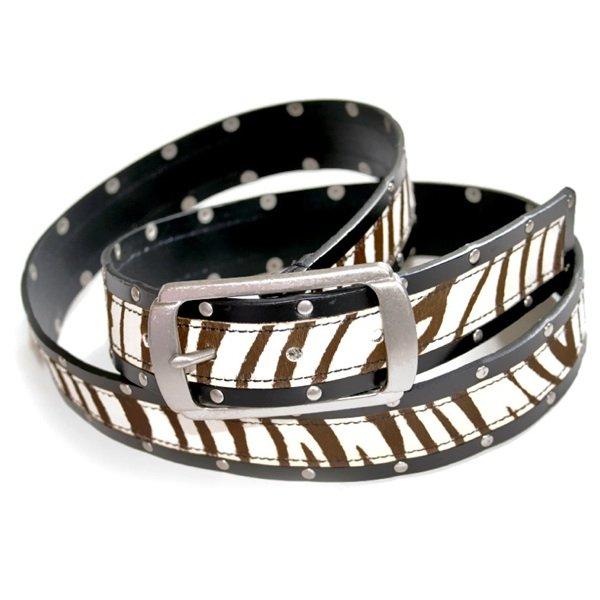 Zebra Stripe Pony Skin Leather Belt Women's Size XL