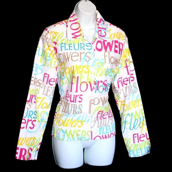 Flowers/Fleurs Beaded Colorful Cotton Jacket Women's Size Medium (M)