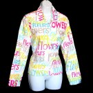 Flowers/Fleurs Beaded Colorful Cotton Jacket Women's Size Medium (M)