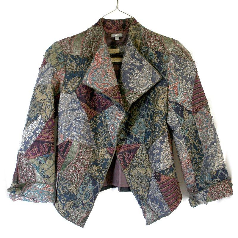 J Jill Re:Create Artsy Patchwork Fall Colors Open Jacket Women's Size Small (S)
