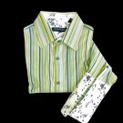 Kenneth Cole Fitted French Cuff Stripe w/ Contrast Floral Shirt Men's Size Small S