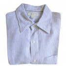Banana Republic Blue &amp; White Ticking Stripe Linen Oxford Shirt Men's Size Large (L)