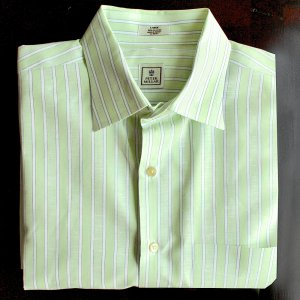 Peter Millar Thin Lightweight Button Up Green Stripe Cotton Golf Shirt Mens Size XL