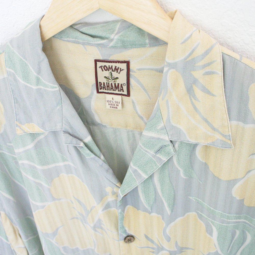 Vintage 90s Tommy Bahama Silk Hawaiian Shirt Blue Yellow