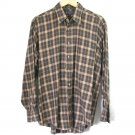 Authentic Burberry London Vintage 80s 90s Brown Green Plaid Dress Shirt Men's Size Large (L)