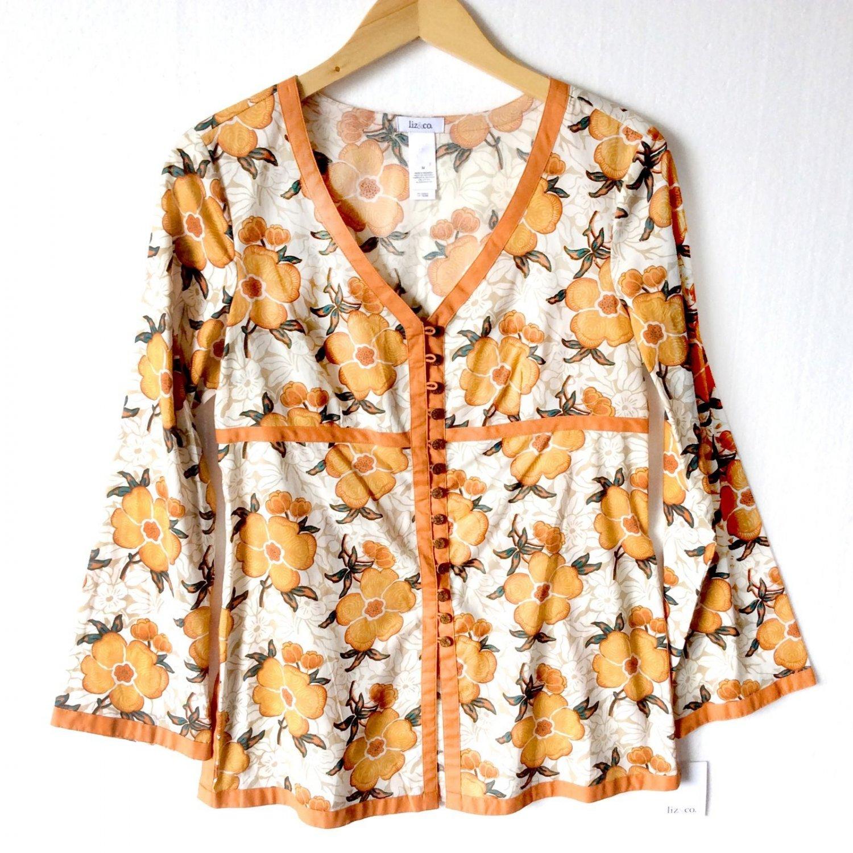 Liz & Co. Orange Trim Floral Cotton Tunic Top Blouse Women's Size Medium M Brand New