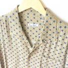 Burma Bibas Silk Short Sleeve Shirt Gold Blue Basketweave Print Men's Size XL
