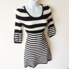 Black & White Stripe Knit Sweater Dress Women's Size Petite Medium (PM) New