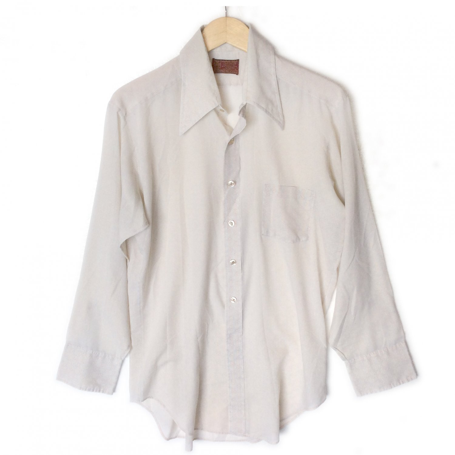 Sears Kings Road Shop Vintage 60s 70s Pointy Collar Thin Shirt 16 35 (XL Slim)