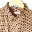 Burma Bibas Cotton Lawn Short Sleeve Shirt Purple Tan Men's Size Large (L) Woven in Japan