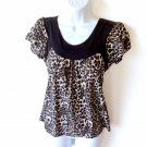 Blingy Sequin Leopard Print Blouse Stretch Cap Sleeves Women's Petite Medium (PM) New