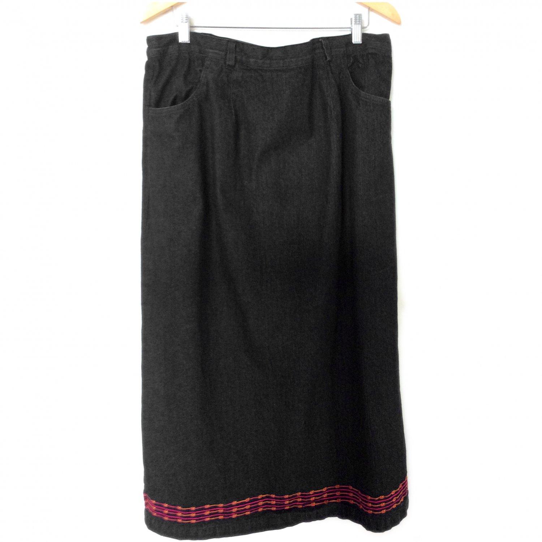 denim co modest jean skirt embroidery trim black