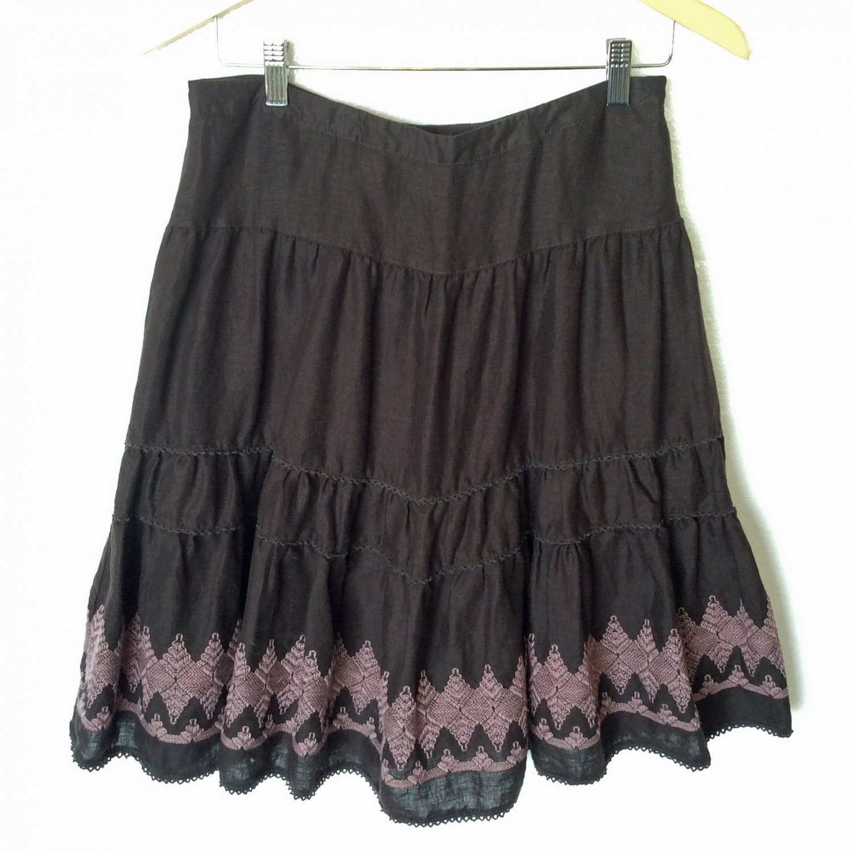 Boho Hippie Embroidered Brown Linen Ruffle Tier Skirt Women's Size UK 12 EU 38 US 8 (Medium) M