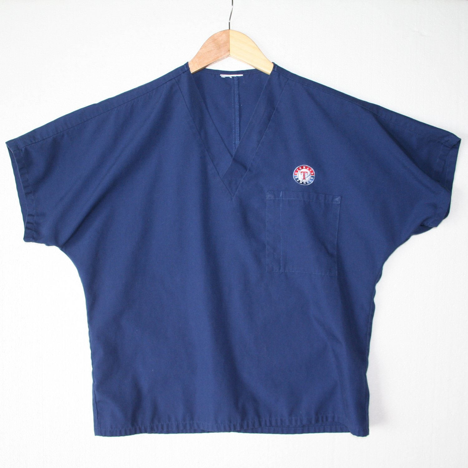 Texas Rangers Baseball Blue Scrub Top Unisex Men's Size Small (S) Women's Size Medium (M)