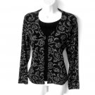 Western Connection Black Slinky Stretch Cardigan Top Sparkle Women's Size Medium (M) New