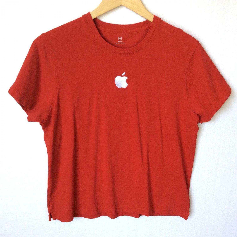 Apple Store Mac Genius Employee Shirt Red Pique Embroidered Logo Women's Size XL