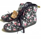 Dr Martens Hackney Black Floral Canvas Boots Shoes Doc Air Wair New Women's Size UK 9 US 11